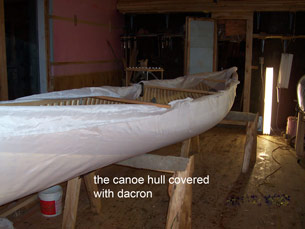 canoe covered with dacron